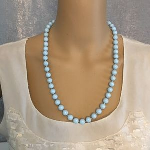Light baby blue beaded necklace